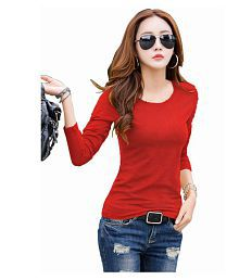 PURVAJA Cotton Lycra Regular Tops - Red