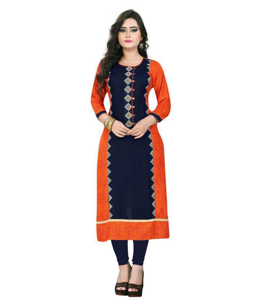 Omstar Fashion Orange Rayon Straight Kurti