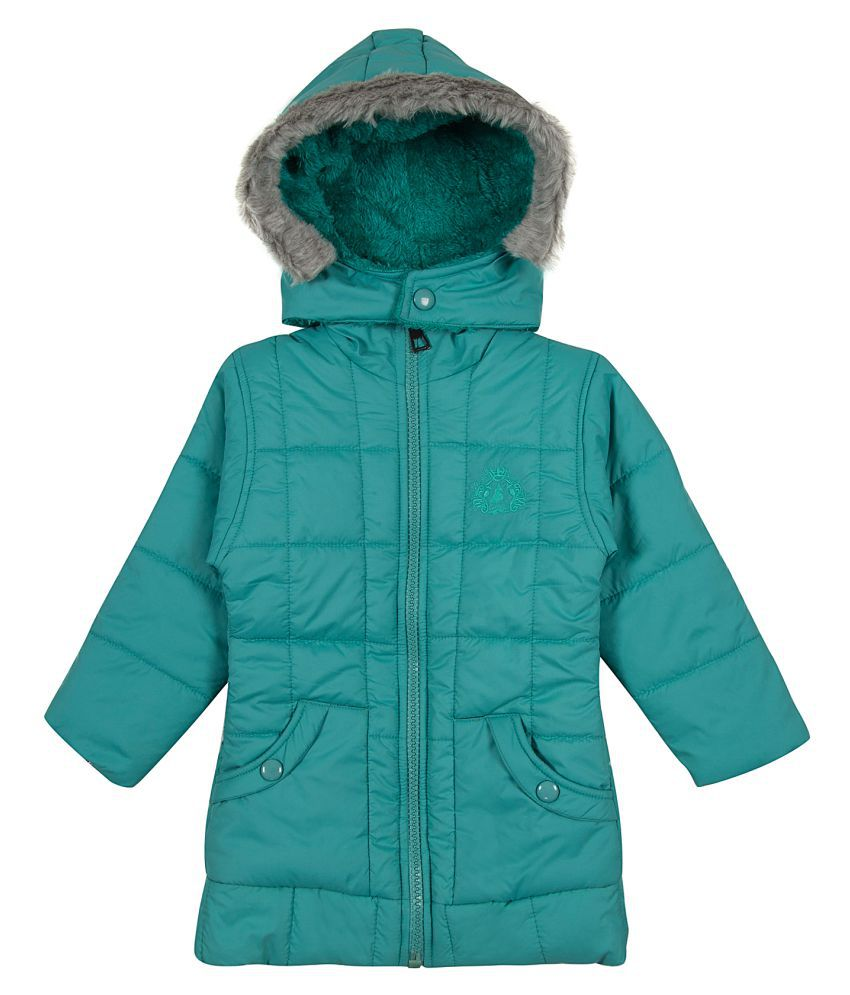 Zoravie Girl's Polyester Full Sleeves Solid Jacket - Blue