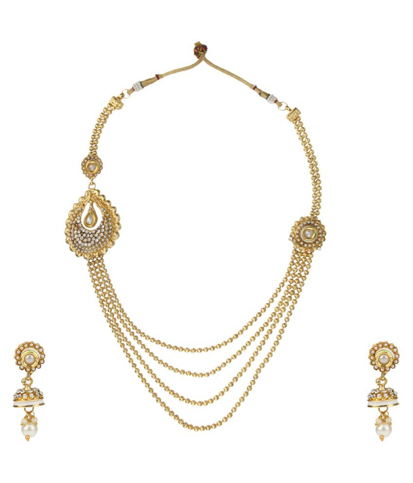 DANCING GIRL Bridal Wedding Collection White Pearl Metal Alloy Without mangtika Necklace for Women