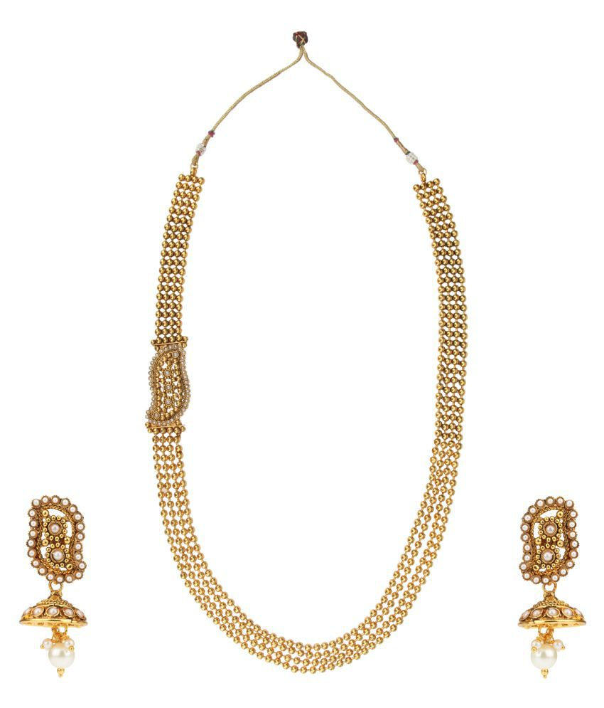 Dancing Girl 1 gram gold jewellery White Pearl Copper Alloy Without mangtika Necklace Set for Women