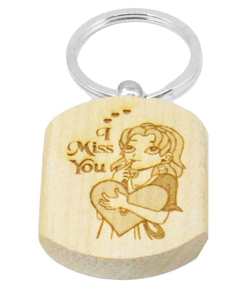 Faynci I Miss You Engraved Handcrafted Wooden Key Chain