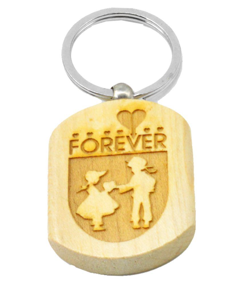 Faynci  Love Forever for him and her Engraved Handcrafted Wooden Key Chain