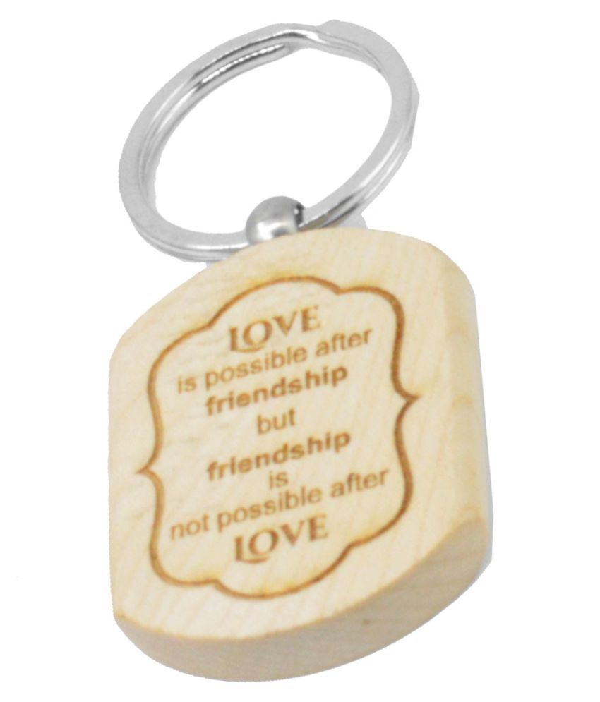 Faynci Love v Friendship Engraved Handcrafted Wooden Key Chain
