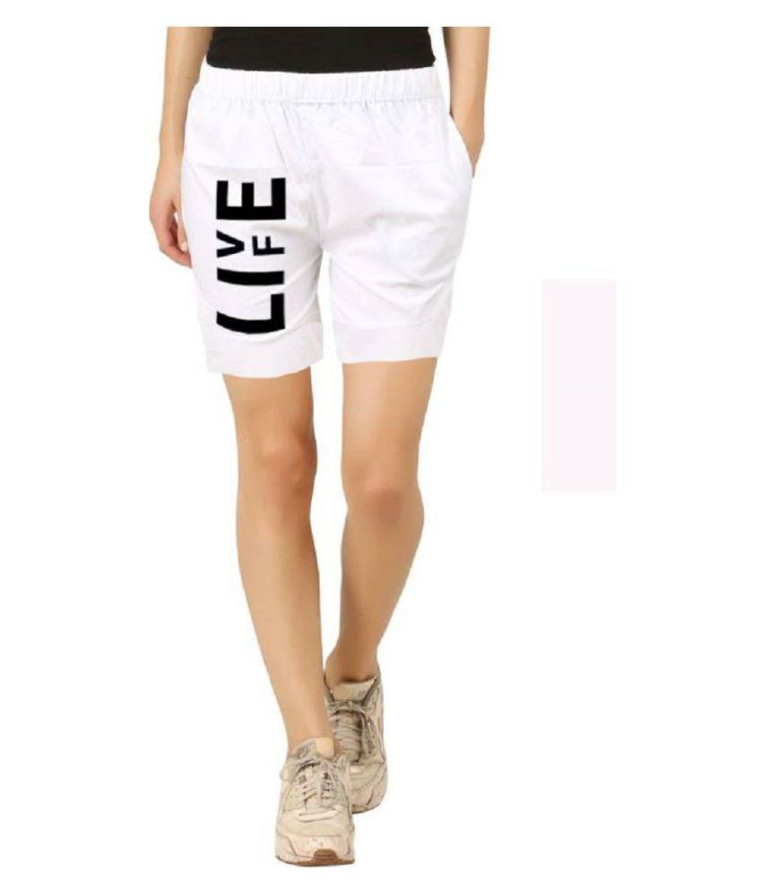 Hotfits Graphic Print Women White Basic Shorts