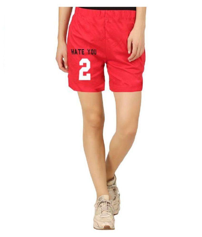 Hotfits Graphic Print Women's Red Basic Shorts