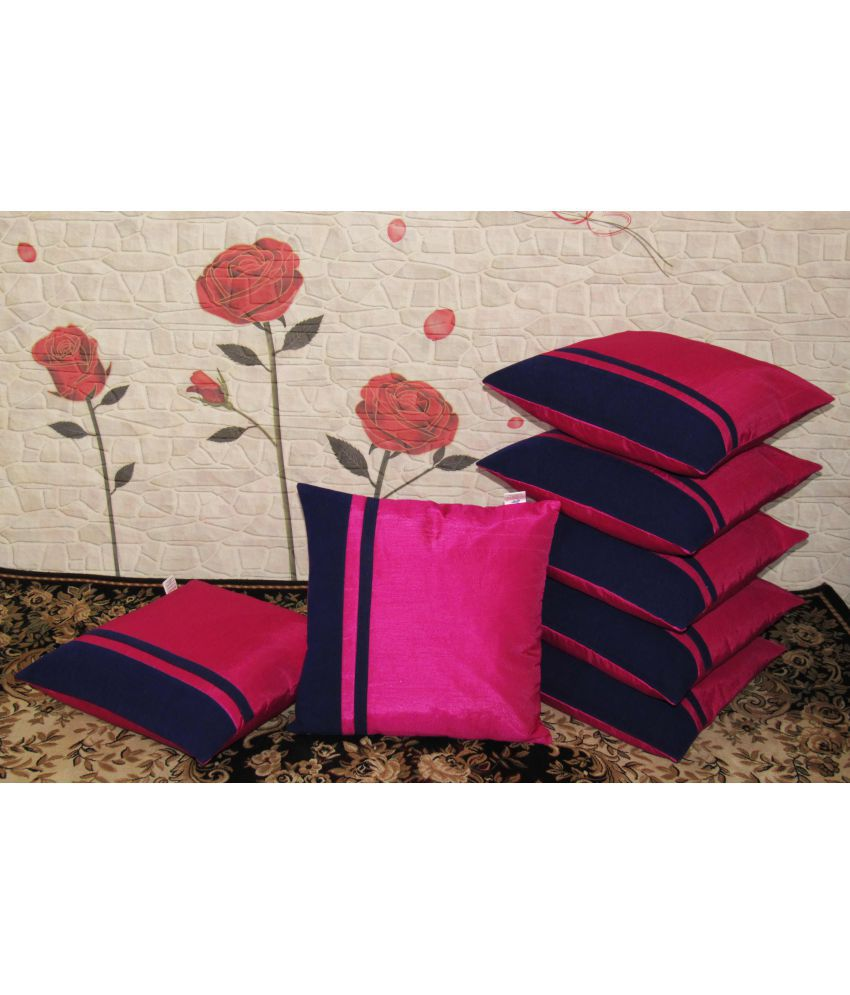 Zikrak Exim Set of 7 Poly Dupion Cushion Covers 40X40 cm (16X16)