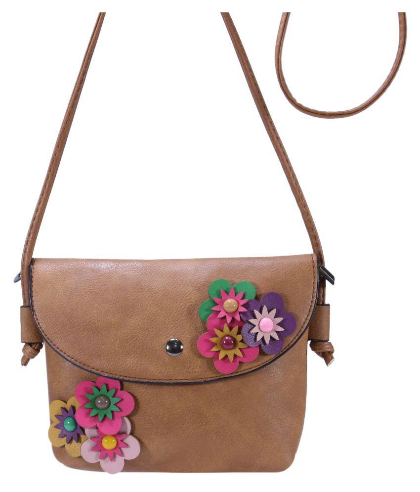 Desence Brown Faux Leather Sling Bag