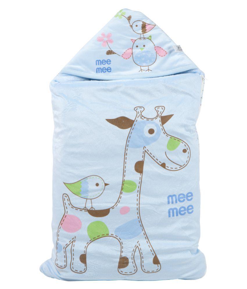 Mee Mee Blue Cotton Baby Wrap cum blanket ( 40 cm × 3 cm - 1 pcs)