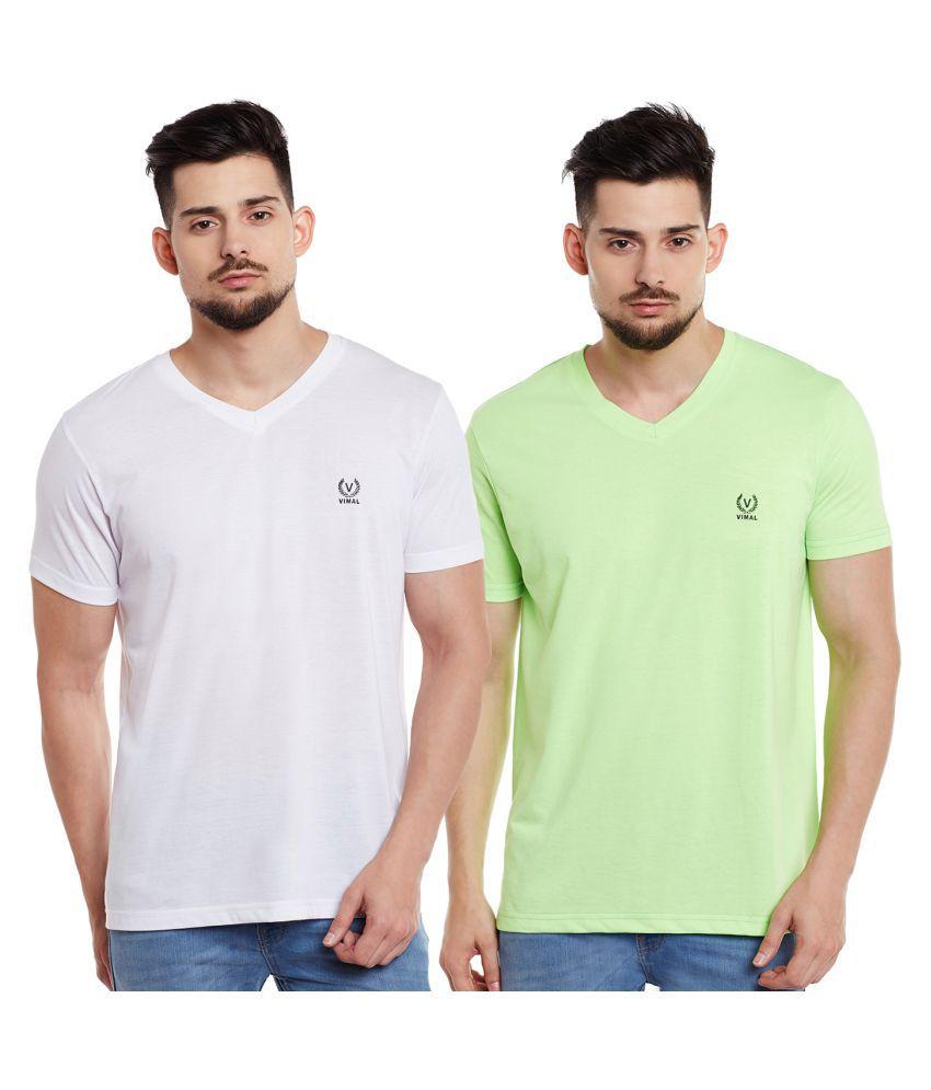 Vimal Multi V-Neck T-Shirt Pack of 2