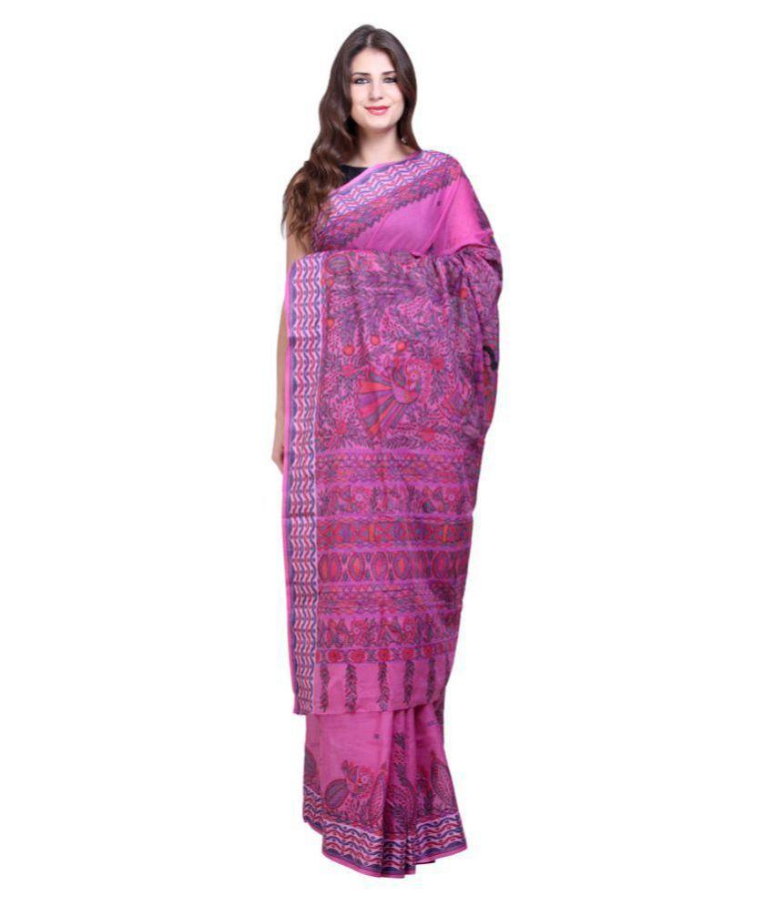 iMithila Pink and Purple Cotton Saree