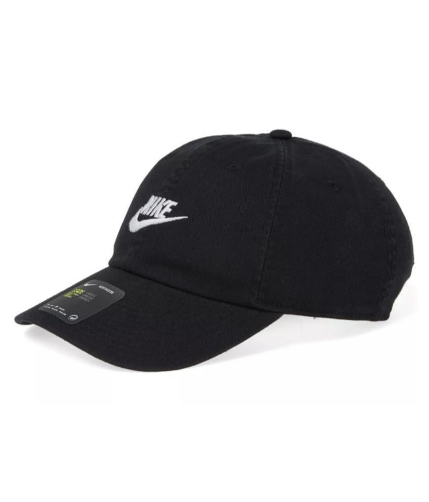 35a45848ab7 Nike Black Plain Polyester Caps Nike Black Plain Polyester Caps ...