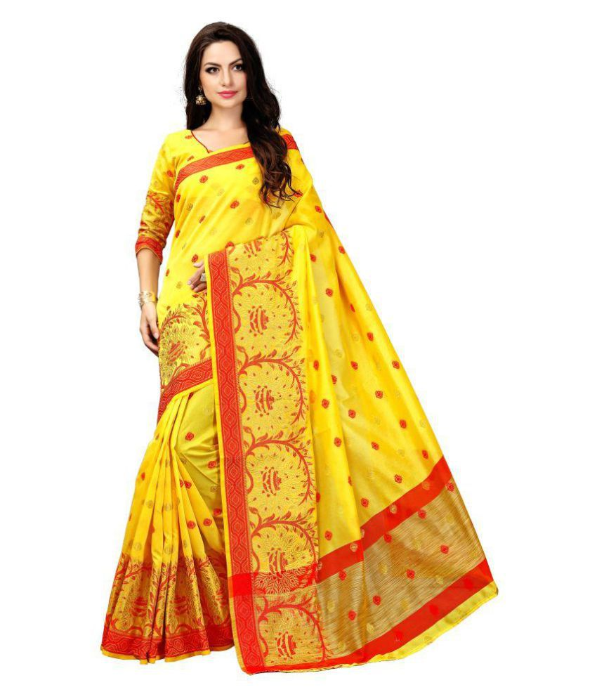 Shree Hari Creation Yellow Cotton Saree