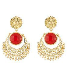 Elakshi Finely Crafted Red Stone Gold Plated Women Earrrings (SC_1038_ER)