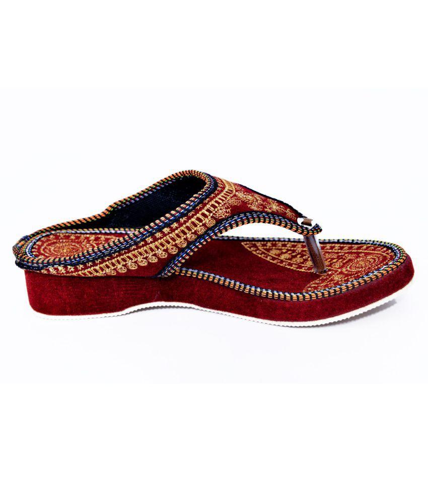 Fashion Thikana Red Wedges Heels