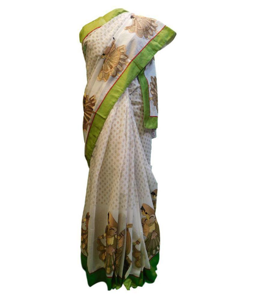 SMSAREE White Cotton Saree