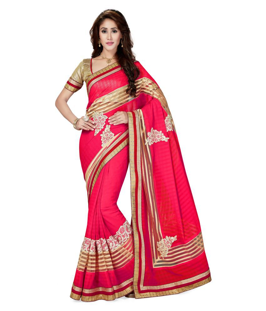 Saree Swarg Pink Chiffon Saree