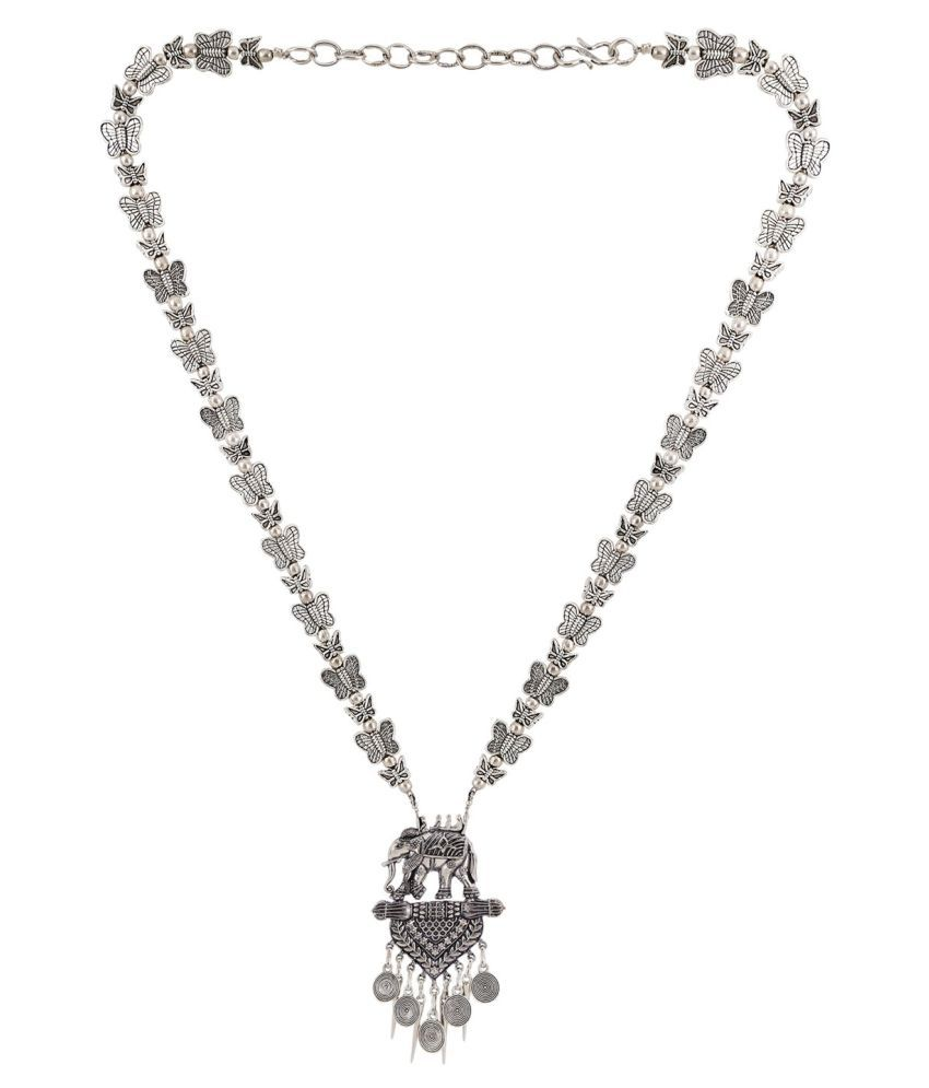 Archi Collection Antique Oxidised Silver Plated Fancy Party Wear Bahubali Statement Necklace Jewellery for Girls and women