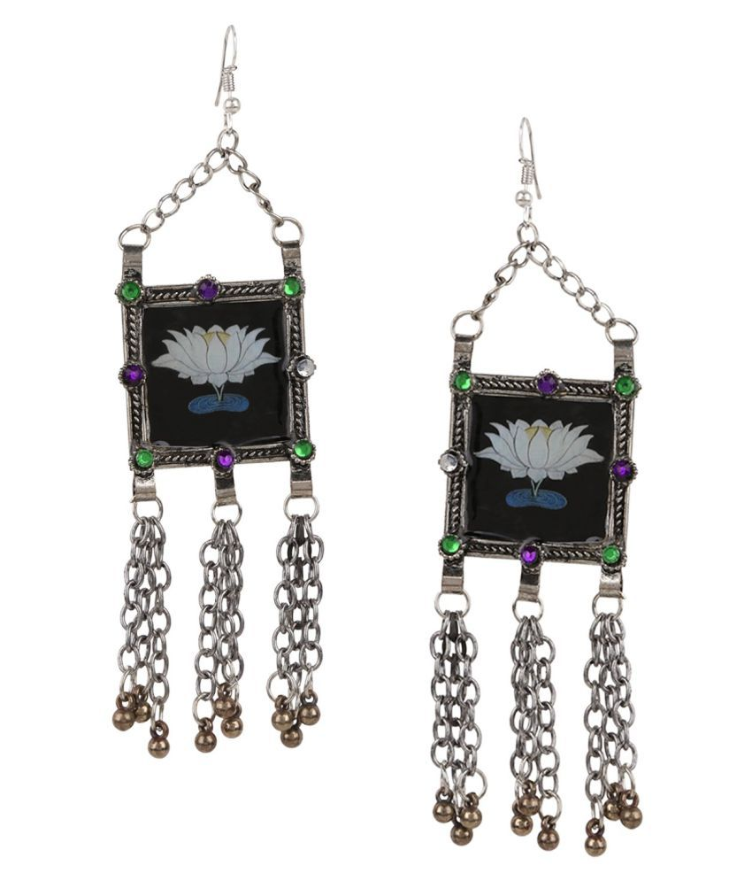 Archi Collection Oxidised German Silver Stylish Fancy Party WeTassel Afghani Earrings for Girls and Women