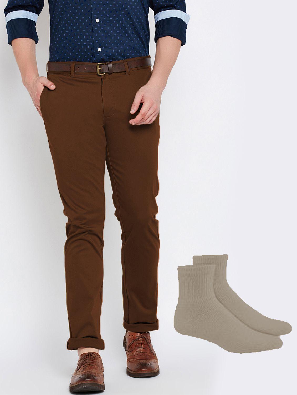Van Galis Dark Brown Regular -Fit Flat Trousers