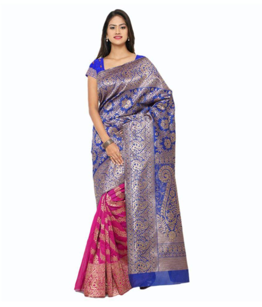 Makewayin Blue Viscose Saree