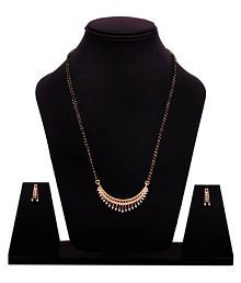Navya Collection American Diamond Gold Plated Latest Design Mangalsutra With Earrings For Woman …