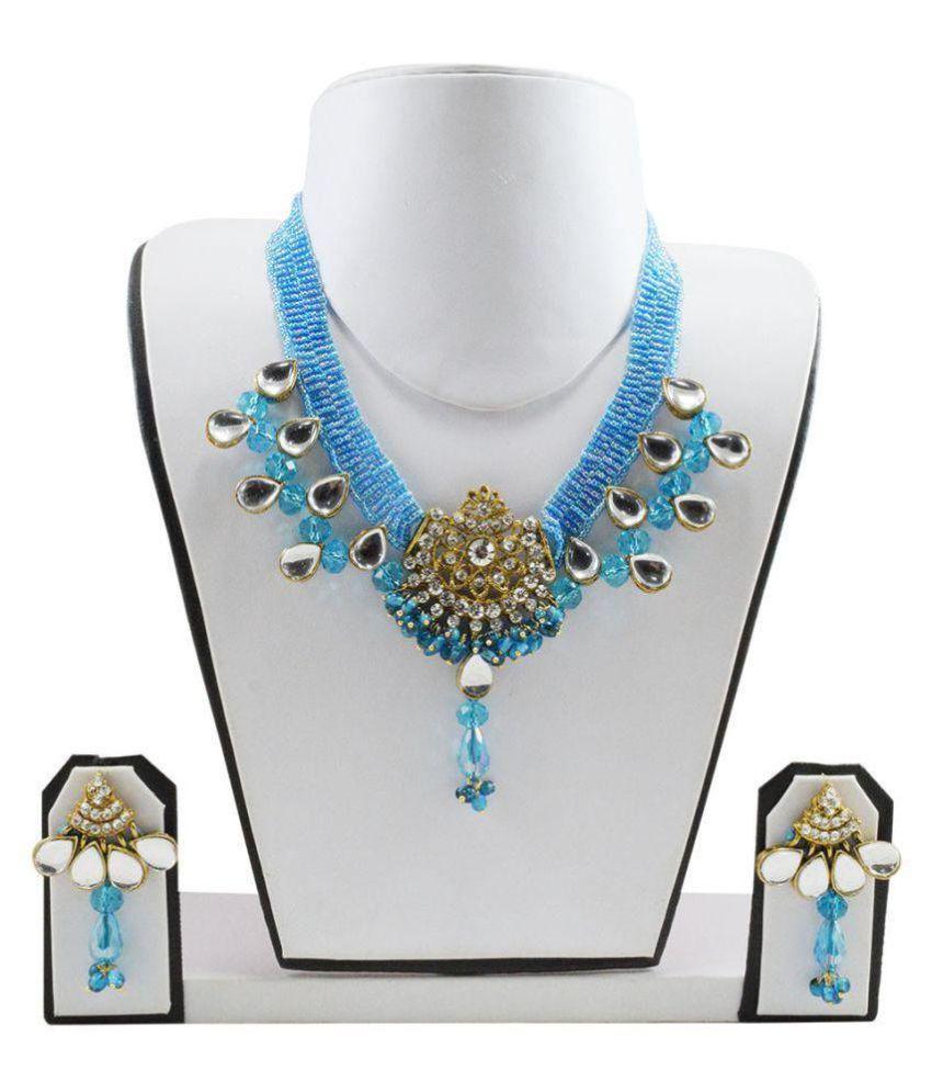Fashionvalley Blue Jeko Moti Choker Kundan Necklace Set for Women & Girls