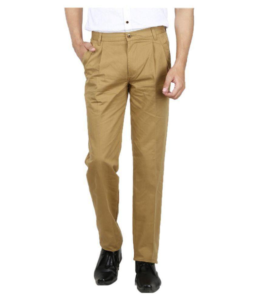AD & AV Khaki Regular -Fit Pleated Trousers