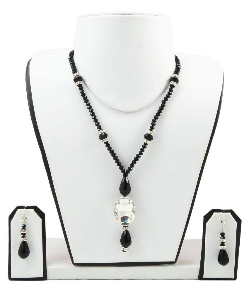 FashionValley Black Crystal Beads Necklace with Rhinestone pendant for Women/Girls