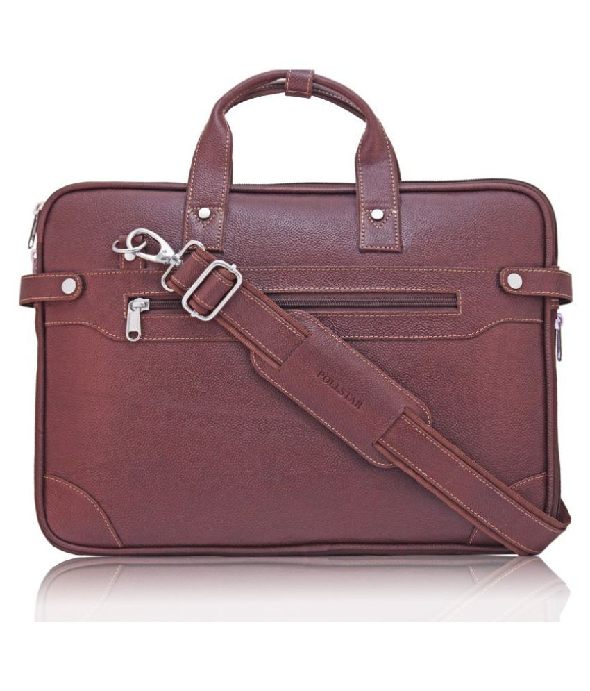 POLLSTAR (MB9999BN) Expandable Premium Brown Leather Office Messenger Bag