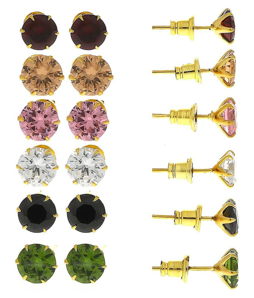 Aabhu American Diamond Jewellery Six Beautiful Solitaire CZ Studs Combination Multicolour Earrings Combo For Girls And Woman
