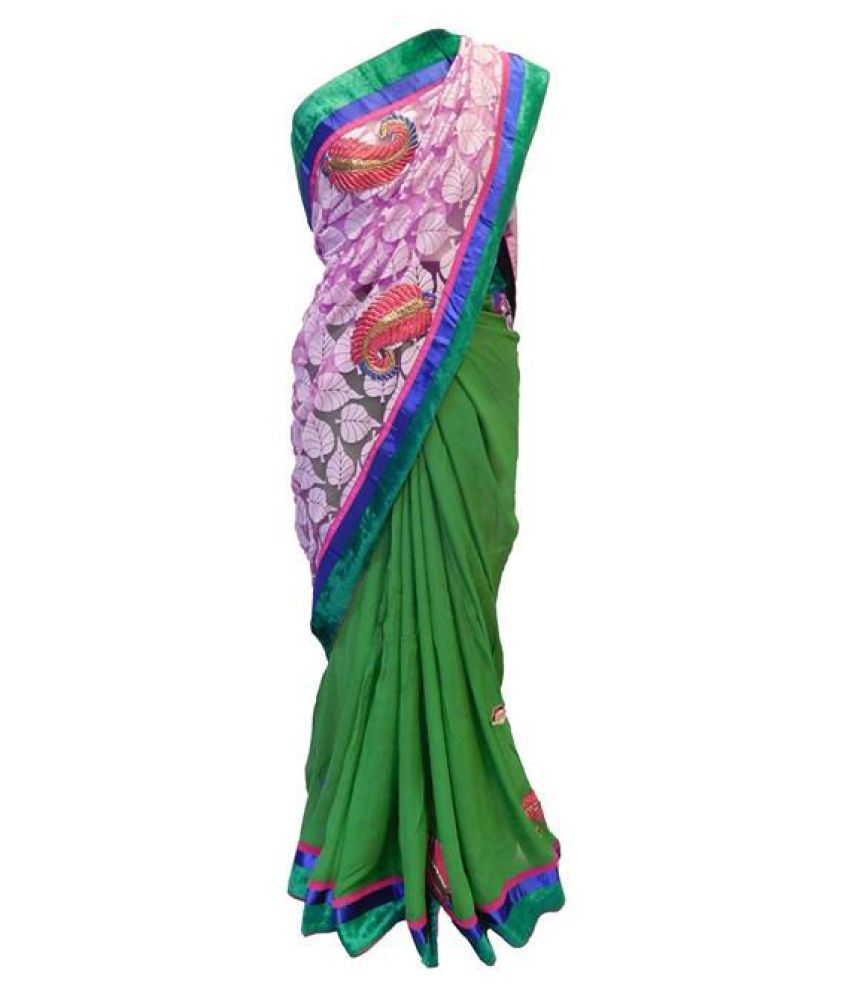 SMSAREE Green Net Saree