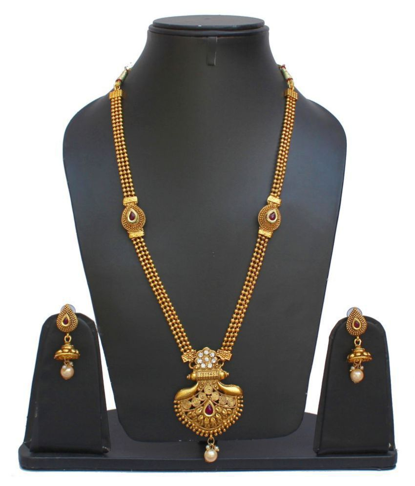 Lucky Jewellery Designer Maroon Color Copper Gold Plated Necklace With Earring For Girls & Women