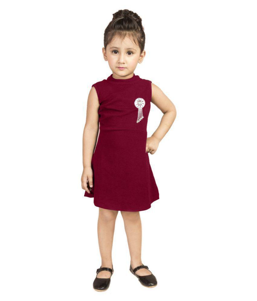 Addyvero Girls Knee Length Maroon Party Dress