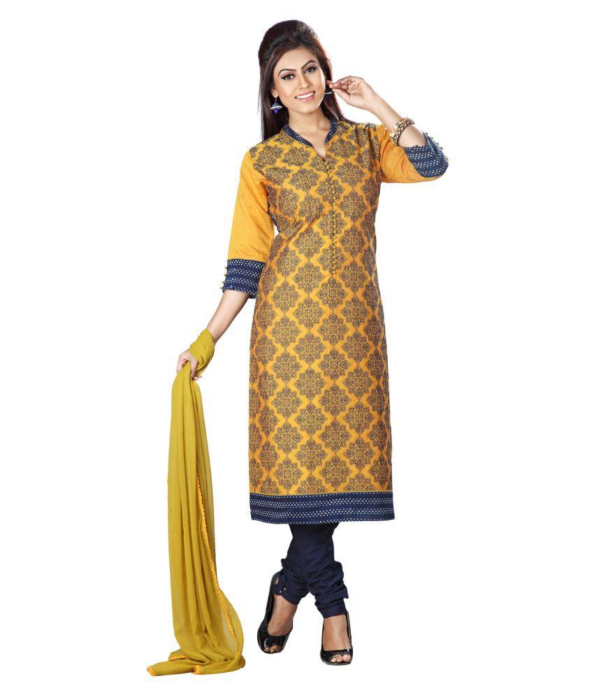 Payal Yellow Chanderi Straight Stitched Suit