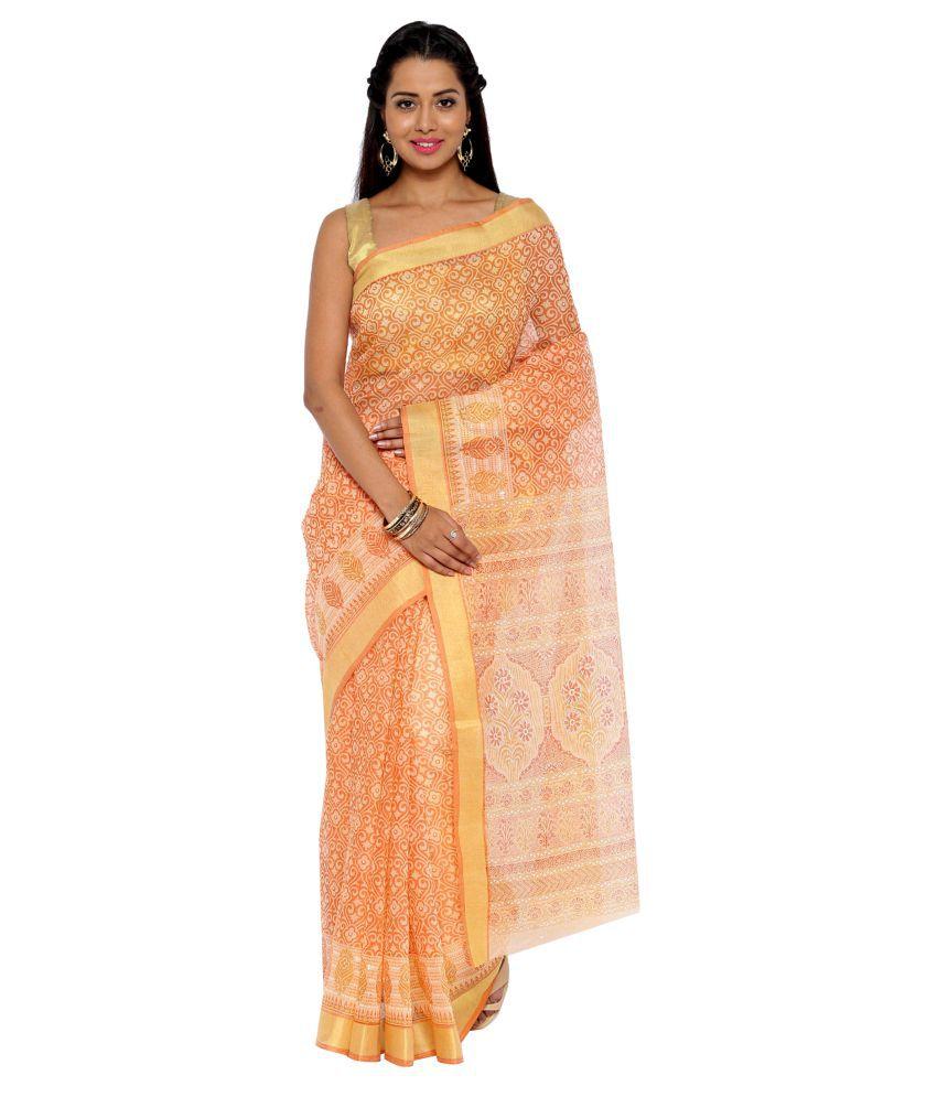 Pratamika Orange Cotton Saree