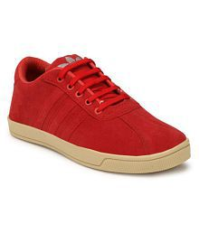 NAMLESS Red Leather Unisex Sneakers Sneakers Red Casual Shoes