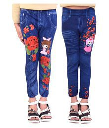 Ziva Fashion Girls Poly Cotton Printed Blue Jeggings (Pack of 2)