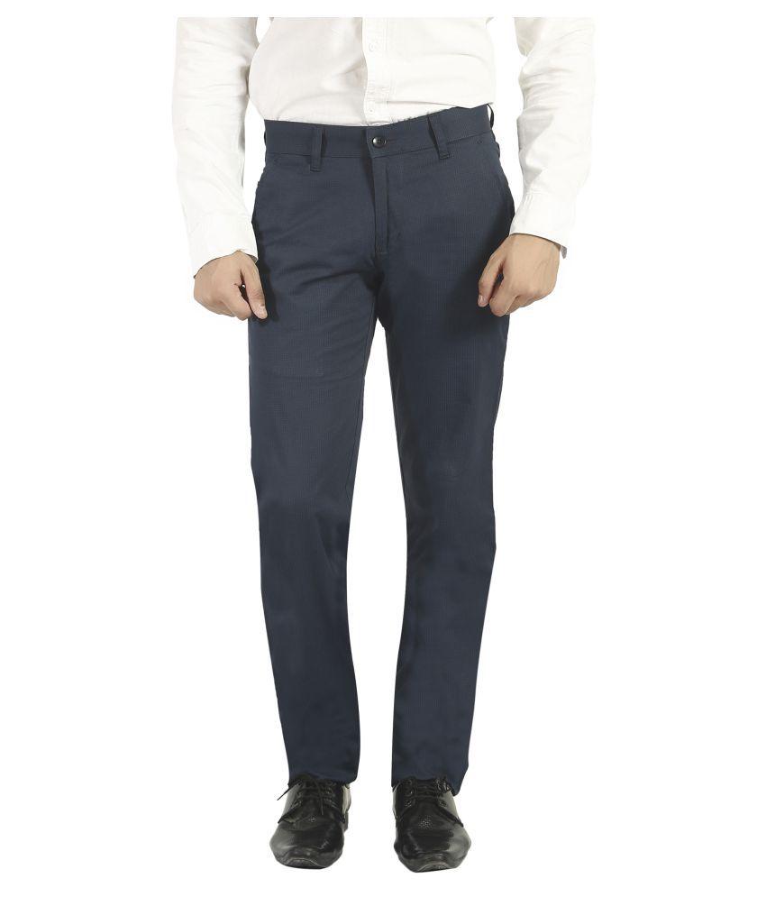 Pecos Bill Blue Slim -Fit Flat Trousers