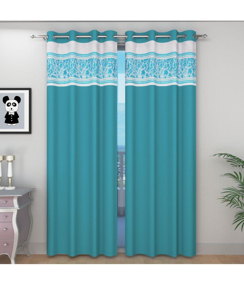 Shri Shyam Furnishing Single Door Eyelet Curtains Contemporary Aqua
