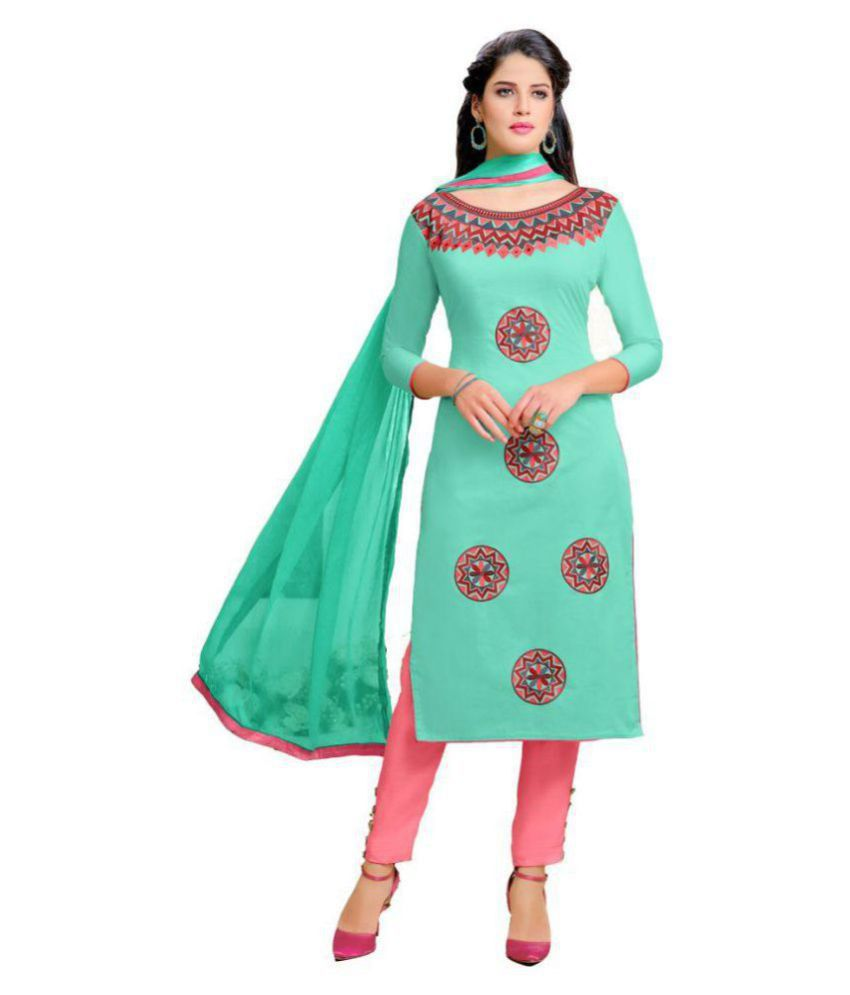 MF Turquoise Cotton Dress Material