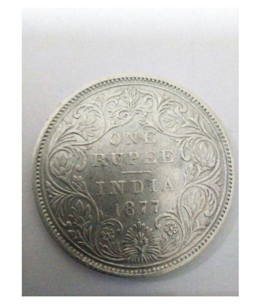 BRITISH INDIA ONE RUPEE SILVER QUEEN VICTORIA 1877 ONE DOT RARE MINT COIN  ORIGNAL COIN