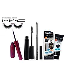 Mac liquidlast eyeliner,Multi-Finish mascara&eyelashes,Charcoal Mask Cream Makeup Kit 158 gm