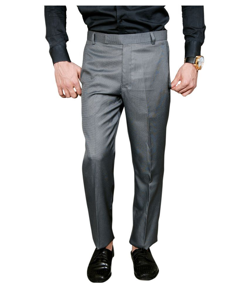 York Style Grey Slim -Fit Flat Trousers