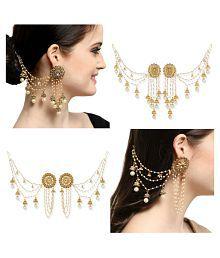 Aadita Bahubali Devsena Design Heavy Jhumki Earrings with Hair Chain Combo Pack of 2 for Women