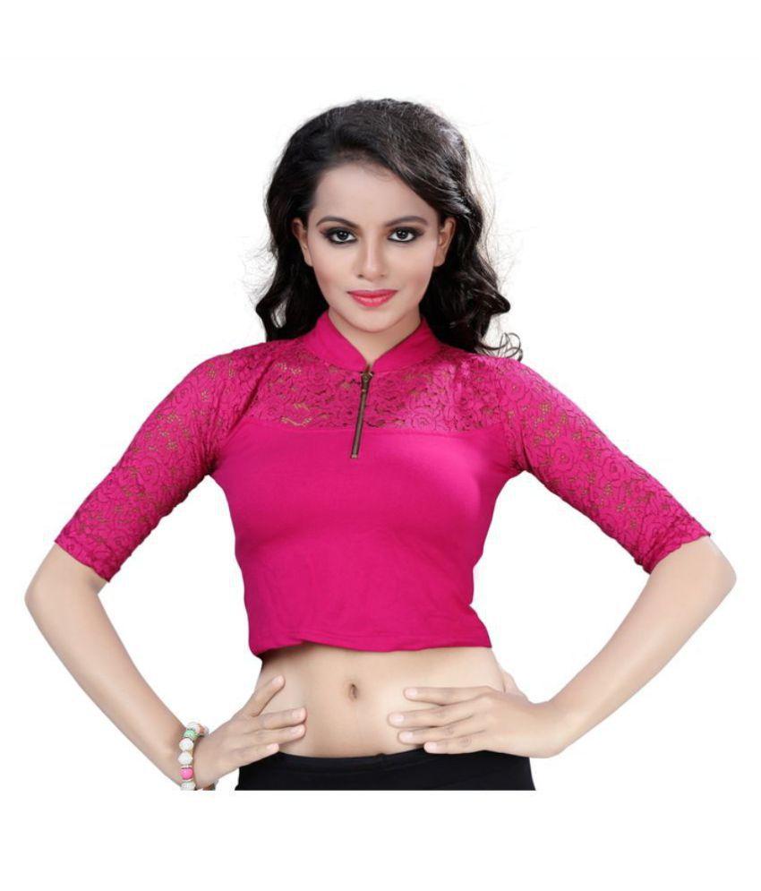 FRESSIA FABRICS Pink Cotton Readymade without Pad Blouse