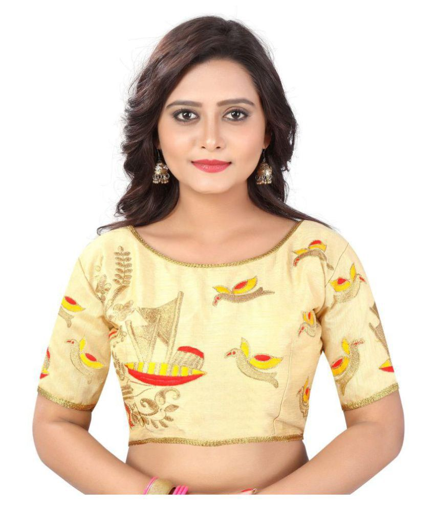 Womens Ethnic Beige Cotton Readymade with Pad Blouse