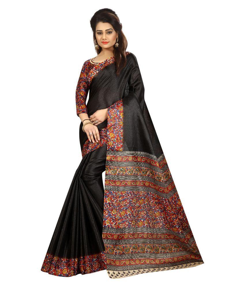 Ishin Black Art Silk Saree