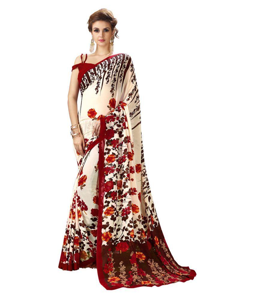 Yadu Nandan Fashion Off White Georgette Saree