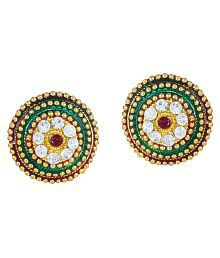 DzineTrendz Gold plated precious stone look, CZ studded Ethnic stud earrings for Women Cubic Zirconia Brass Stud Earring